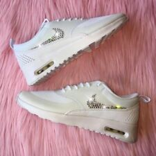 SALE! Bling Nike Air Max Thea w/ Swarovski Crystal Swoosh Triple All White Shoes