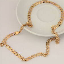 18K  Gold Plated Mens Necklace Solid Cuban Curb Chain Link Jewelry