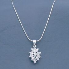 """CZ Cluster Pendant with 16"""" Chain Necklace 925 Sterling Silver Italy Dainty New"""