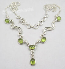 "925 Sterling Silver Fabulous GREEN PERIDOT ONLINE BUY Necklace 17.25"" NEW"