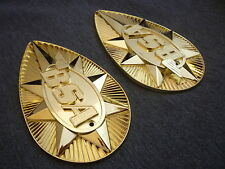 BSA B25 / A65 Gold Pear Shaped (Pair of) Metal Tank Badges Badge Made in England