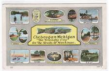 Multi view Straits Mackinac Cheboygan Michigan postcard