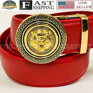Fashion Automatic Designer Buckle Men's Red Gold Ratchet Genuine Leather Belt