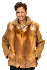 CLEARANCE Natural Canadian Red Fox Jacket with Dark Gold Knit Sleeves - Size 8
