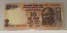 INDIA Rs 10 RUPEES Fancy Serial Number 00C-000888 UNC BANKNOTE MAHATMA GANDHI