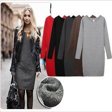 Women Winter Thick Thermal Warm Fleece Long Sleeve Slim Bodycon Dress Size 6-18