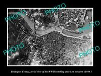 OLD POSTCARD SIZE MILITARY PHOTO BOULOGNE FRANCE TOWN BOMBING AERIAL VIEW 1940
