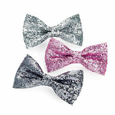3pc GLITTERING 7cm BOW CLIP HAIR SET SILVER PINK TONAL GLITTER SPARKLY SPARKLING