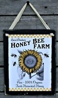 Honey Bee Farm Sunflowers Rustic Farmhouse Wooden Wall Sign Plaque