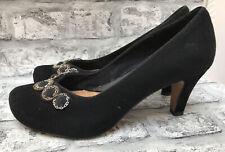 CLARKS LADIES RETRO BLACK SUEDE JEWELLED HEELED SHOES SIZE 6 UK 39 EUR