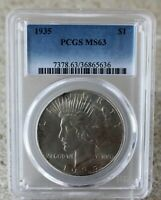 1935 Silver Peace Dollar One Dollar US Coin Certified PCGS MS63 $1 US Coin