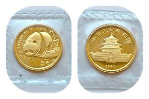 1987 1/20 th gold panda  gold  916 24 ct   sealed 5 yuan