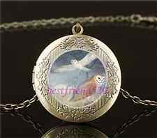 Vintage Owl Photo Cabochon Glass Brass Chain Locket Pendant Necklace