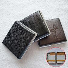 Pocket Cigarette Case Slim Size Metal Holder Leather Cases 20 Cigarette Portable