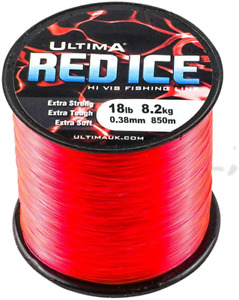 Ultima Red Ice Strong Hi Vis Sea Fishing Line - Fluo Red, 0.38 mm - 18.0 lb