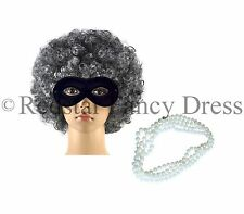 GANGSTER GRANNY GREY OLD LADY WIG AFRO EYE MASK PEARLS WORLD BOOK DAY COSTUME