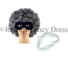 Gangster Oma grau alt Damen Perücke Afro Augen Maske Perlen Welttag des Buches