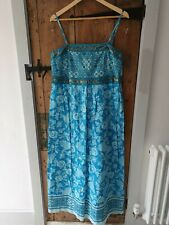Monsoon Strappy Maxi Dress in Turquoise & Gold Sequins Size 16