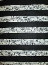 PIANO KEYBOARD STRIPES MUSIC BLACK COTTON FABRIC BTHY