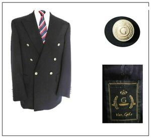 """Van Gils Mens Classic Double Breasted Jacket Blazer Ch40""""R Navy military style"""