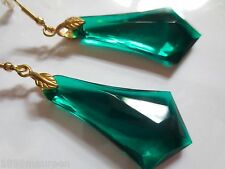Art Deco Art Nouveau earrings 1920s vintage style dark green lucite drops LARGE