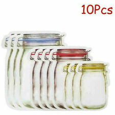 10Pcs Kitchen Mason Jar Snack Saver Bag Leakproof Food Zipper Case Reusable Bags