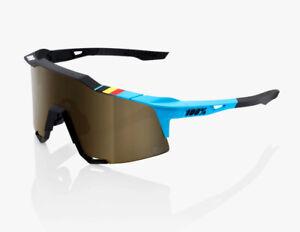 100% Speedcraft Cycling Sunglasses BWR, Black - Soft Gold Mirror Lens