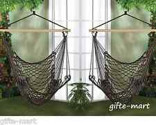 2 brown Cotton rope Swing tree Hanging Chair Hammock Porch outdoor furniture