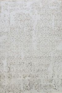 Floral Silver/ Gray Hand-knotted Wool/ Silk Modern Oriental Area Rug 9x12 Carpet