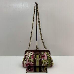 Isabella Fiore Small Fabric & Leather Chain Strap Kisslock Clutch Striped/Floral