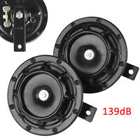 1 Pair 139DB Black Super Tone Dual Car Grille Horns 12V Universal UK New.