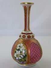 C. 1870 ANTIQUE BOHEMIAN GILDED & HAND PAINTED, RAISED PANEL GLASS VASE