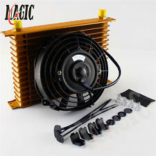 """15 Row engine Transmission 10AN Universal Oil Cooler + 7"""" Electric Fan Kit GOLD"""