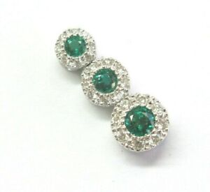 Green Emerald & Diamond Circular Drop Pendant 14KT White Gold .65Ct