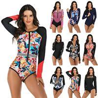 Women's One-Piece Rash Guard UV Protection Surfing Wetsuit Zip Swimsuit Swimwear