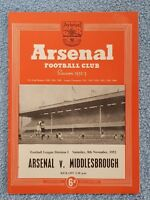 1952 - ARSENAL v MIDDLESBROUGH PROGRAMME - FIRST DIVISION 52/53