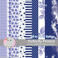18 Patterned Paper Sq 140mm -Scrapbooking Cards Craft Paper - All in Navy