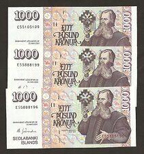 2001 Iceland 1000 Kronur Már Guðmundsson Signature P59 Uncirculated !