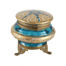 French Blue Art Glass & Gilt Bronze Footed Box, circa 1920