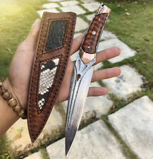 VG10 DAMASCUS SURVIVAL ARMY HUNTING KNIFE FIXED BLADE SHEATH FULL TANG SNAKEWOOD