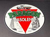 "VINTAGE PARAGON GASOLINE ADVERTISING 12"" PORCELAIN METAL SIGN GAS OIL PUMP PLATE"