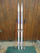 "Ready to Use Cross Country 66"" TECNO PRO 170 cm Skis WAXLESS Base +  Poles"