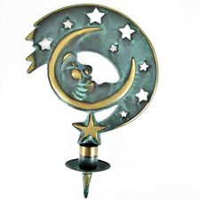 PartyLite Verdigris Moondance Taper Candle Holder Brass Moon Wall Sconce 1994