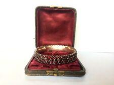 4 Rows Vintage Bracelet Box Excellent Antique Victorian Garnet Bangle