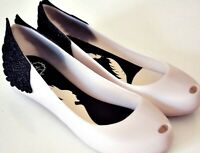 Melissa Ultragirl Disney's Maleficent Discontinued Black and White Flats w/Wings