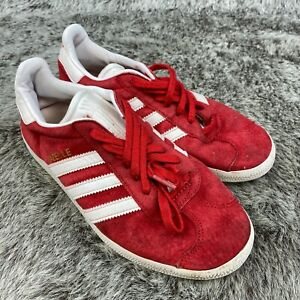 Adidas GAZELLE ba9598 Mens Size 6 RED SUEDE LEATHER WHITE TRAINERS SNEAKERS