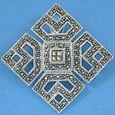 P356 Sterling Silver Marcasite Pendant Brooch Broach New Solid 925