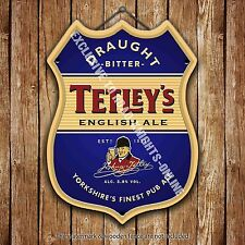 Tetley's Bitter Beer Advertising Bar Old Pub Metal Pump Badge Shield Steel Sign