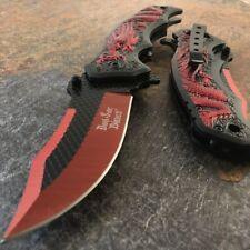 "8"" Dark Side Blade RED DRAGON SPRING ASSISTED TACTICAL FOLDING KNIFE Pocket Open"