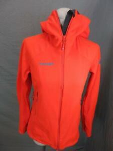 Mammut Size S Womens Orange Full Zip w/Pockets Waterproof Hooded Jacket T596